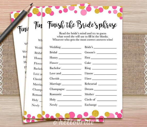 Finish The Bride's Phrase Game Printable Pink And By