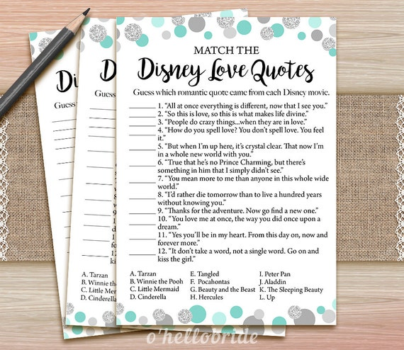 disney love quotes match game printable mint bridal shower