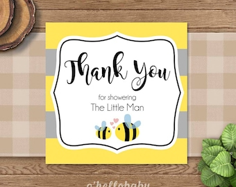 Yellow Bumble Bee Baby Shower Thank You Cards Favor Signs 1