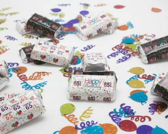 Happy 65th Birthday Party Favor Sticker Decorations for Hershey Miniatures Candy Bars (set of 54 sticker labels)