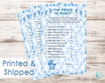 It's a Boy The Price Is Right Baby Shower Game Boy, The Price Is Right Game, Blue and White Price Is Right, Boy Baby Shower Game (Set of 20)