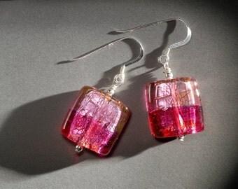Vivid pink earrings in Czech designer glass