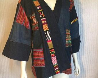Vtg 70s denim kimono patchwork guatemalan woven huipil jacket boho hippie