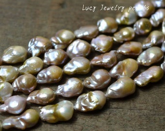 DIY wholesale Nucleated pearl Natural Rare freshwater pearl,purple Edison pearl,loose beads 13-14mm 22pcs full strand loose pearl LY1007