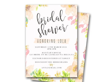 Bridal Shower Invitation - watercolour, customized Invite - Party Invite -  pink tropical flowers - hawaii, hawaiian, THE LUAU COLLECTION