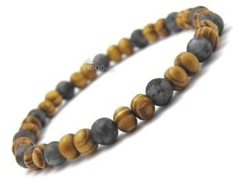 Bracelet men/women jewelry natural beads Brown wooden Ø 6 mm natural gemstone Larvikite Labradorite grey P46