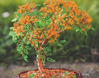 Orange Jewel | Beaded Bonsai