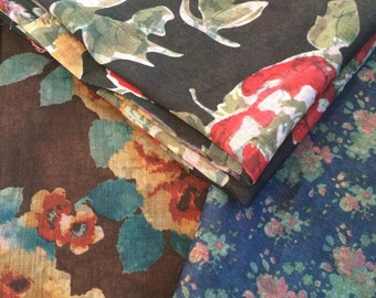Double-Sided Reversible Lightweight Floral Fabric Remnants - Lot of 3