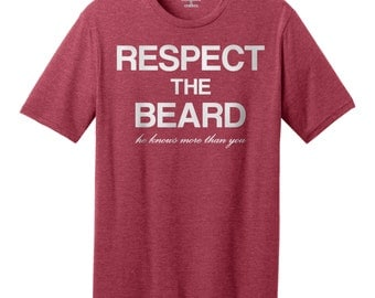 """Men's """"Respect the Beard"""" Funny Graphic T-Shirt, Big Sizes Available"""