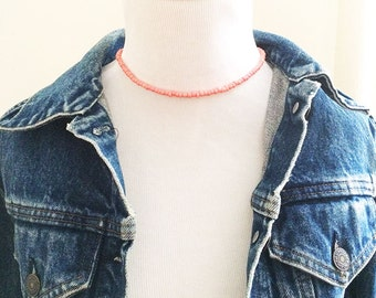Pink choker, beaded choker, coral choker, seed bead choker, dainty choker, beaded necklace, gift for friend, boho choker, boho jewelry
