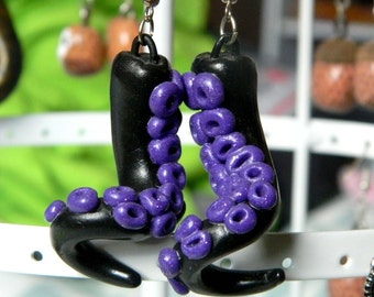 tentacle purple SEQUIN earrings
