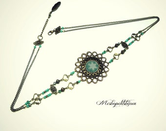 headband jewel of head, perles à facettes blue, Bohemian spirit