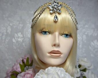 gatsby headpiece, art deco headpiece, 1920s roaring 20s crystal headpiece, flapper headpiece, gatsby wedding gatsby accessories gatsby dress