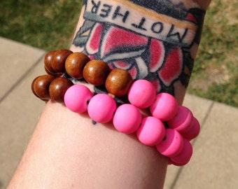 Neon & Wood Colorblock Bracelet Set