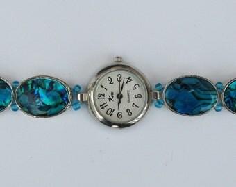 WA09 - Ladies Dress Watch with Unique Handmade Lustrous Blue Bracelet.