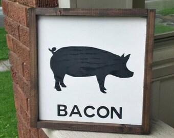 Rustic Farmhouse style kitchen decor pig sign