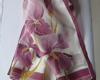 Silk scarf - shades of plum and soft pink