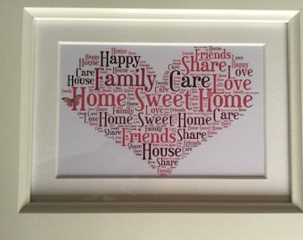 Home sweet home word art picture