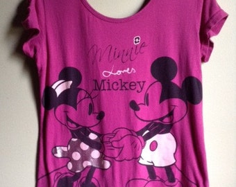 Pink Minnie Loves Mickey Shredded Braided Back T Shirt