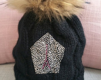 Hat in cashmere and genuine swarovski Eiffel crystals
