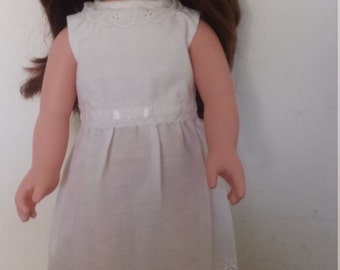 """Long white dress with eyelet trim for American Girl and other 18"""" dolls."""