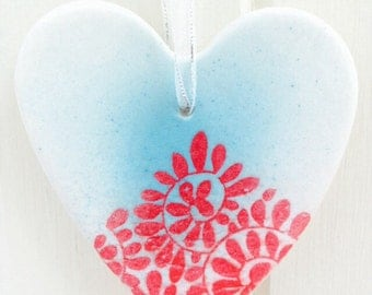 Porcelain Heart Hanging Decoration, Red, Turquoise and White