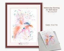 Bird Watercolor, Bird art, Bird Painting, Printable Cards, Bird Print Cards, Bird Wall Art, Watercolor Painting, Printable Bird Abstract