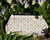 Clutch Bag - Purse - Hand Bag - Accessory Bag - Toiletry Bag - Handmade vintage-look bag in beautiful cotton alphabet fabric.