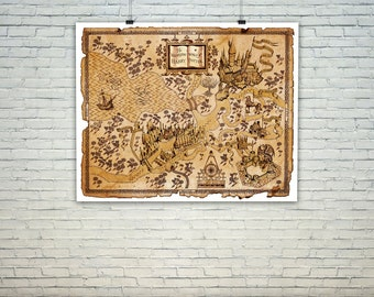 Harry potter map, The Wizarding World of Harry Potter Map, Harry Potter Print  Home Decor