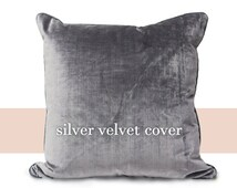 Set of 2 Oversized Plush Silver Velvet Pillow Covers - Decorative Cases, Grey Gray Indoor Throw Toss Cushion Large 24x24