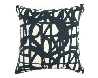 White and Blue Scribble Pattern Pillow Cover - Urban Graphic Colorful Indoor Cases - Decorative Throw Cushion