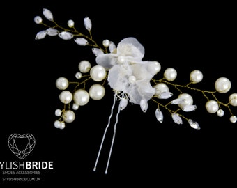 Wedding Floral Hair Pins, Pearl Hair Pins, Wedding Hair Accessories, Hair Accessory, Crystal Pearl Hair Grips