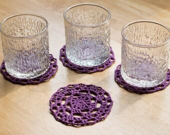 Purple Crochet Coasters or Doilies - Set of 4