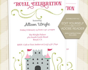 Princess Party Invitation / Princess birthday party invitation / Instant Download / Editable / digital printable / castle / for girl / pink