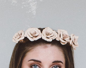 Cream and Blush Leather Flower Crown (Small)