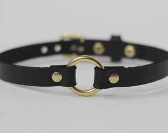 Single Strap Leather Choker - BLACK