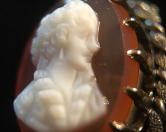 Old Antique Vintage Hand Carved Hard Stone Carnelian or Agate Cameo Stick Pin or Lapel Pin of Victorian Woman