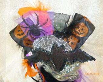 Halloween bat pumpkin and spider fascinator