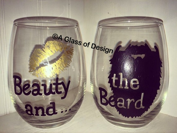 Hand painted wine glasses beauty and the beast couple s gifts