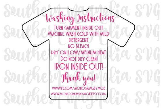 Vinyl Apparel Care Card Instructions Print And Cut File - Custom vinyl decal application instructionscare card printable care card instructions printable care