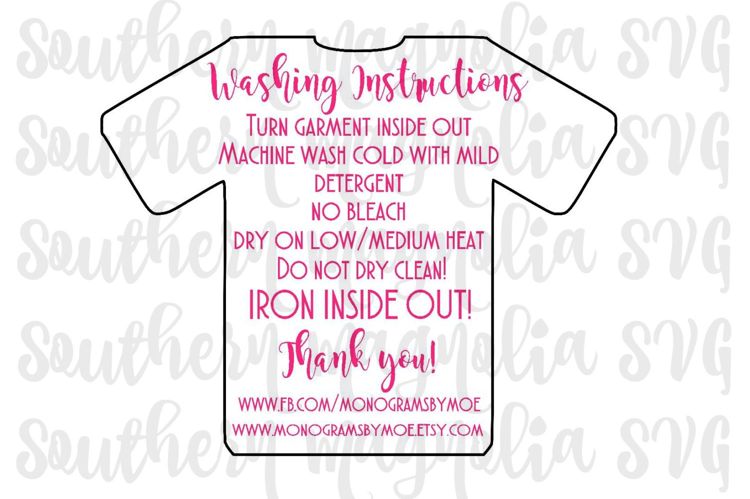 Vinyl Apparel Care Card Instructions Print And Cut File