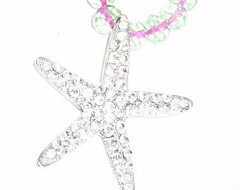 Oceanside Silver Crystal Starfish Necklace