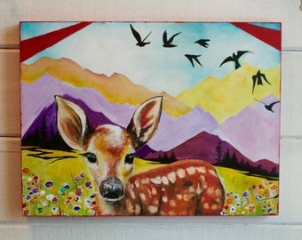 Mountain Fawn, mixed media wood block, original painting