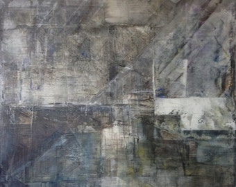 A gloomy Day Abstract Textured Modern Painting by MIchela Caffagna