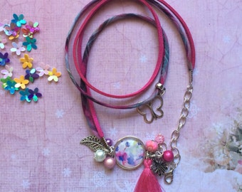 Multi-links bracelet pink with cabochon flowers
