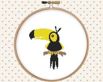 Toucan bird cross stitch pattern pdf - instant download