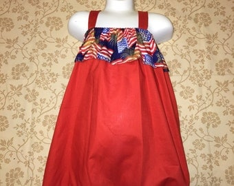 Red 4th of july strap dress.  Size 5