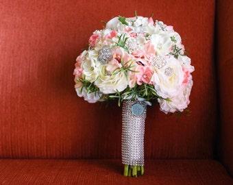 Custom brooch and silk flower bouquet