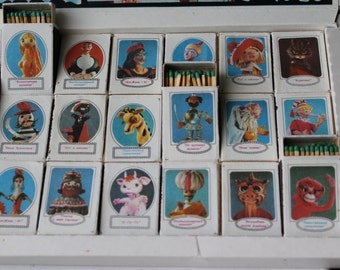 Set of 18 boxes of Soviet safety matches -State Puppet Theatre under the direction of Obraztsov-. Wooden matches. Sulfur matches. safety