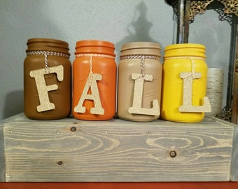 Hand Painted and Distressed fall inspired mason jars